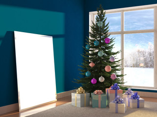 Christmas decorative tree, toys, balls with empty frame poster with blank for design and present gift boxes, window and snow winter on background. 3d illustration with soft focus and light effect