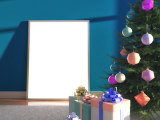 Christmas decorative tree, toys, balls with empty frame poster with blank for design and present gift boxes. 3d illustration with soft focus and light effect