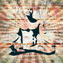 Muscular man sit in meditation pose. Relaxing mannequin. Cutout silhouette. Grunge textured backdrop