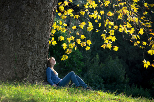 Girl sitting on the grass under a maple tree in autumn
