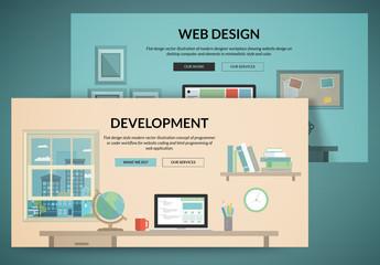 Flat Development and Design Web Layouts