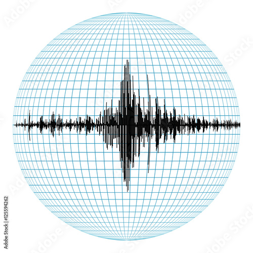 Seismogram of different seismic activity record vector