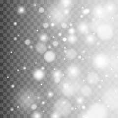 Vector falling snow effect isolated on transparent background with blurred bokeh.