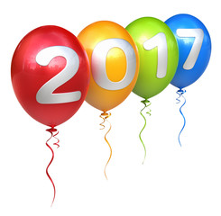 2017 with colorful balloons