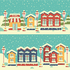 Winter town. Flat. Happy New Year and Merry Christmas