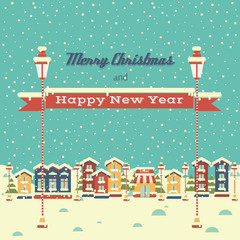 Christmas background with houses and greeting inscription in flat style. Winter town.  Happy New Year and Merry Christmas