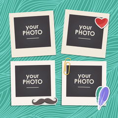 Vintage hipster retro style. Decorative vector template frame. These photo frame can be use for kids picture or memories. Scrapbook design concept. Insert your picture.