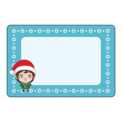 Photo frame with a cute elf in the corner