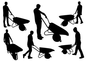 People with wheelbarrow silhouettes