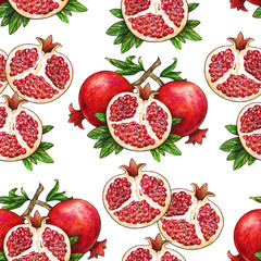Ripe fruit of red pomegranate on a branch is isolated on a white background. Watercolor illustration of pomegranate and green leaves. Hand drawn watercolor painting. Seamless pattern