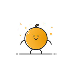 Vector illustration of funny orange character cartoon isolated in line style. Linear yellow cute fruit icon with face smile. Flat design for banner, web page and mobile app. Outline vegan expression.