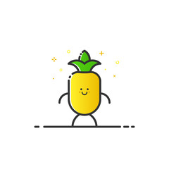 Vector illustration of funny pineapple character cartoon isolated in line style. Linear yellow cute fruit icon with face smile. Flat design for banner, web page and mobile app. Outline vegan