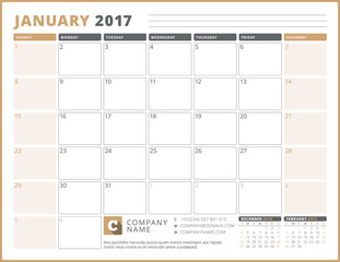 Calendar Template for 2017 Year. January. Business Planner 2017 Template. Stationery Design. Week starts Sunday. 3 Months on the Page. Vector Illustration