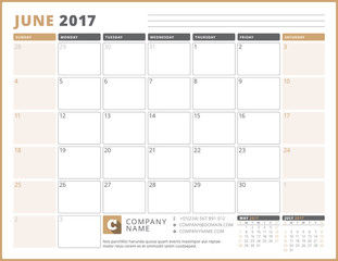 Calendar Template for 2017 Year. June. Business Planner 2017 Template. Stationery Design. Week starts Sunday. 3 Months on the Page. Vector Illustration