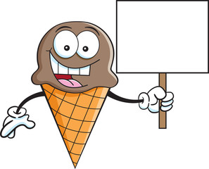 Cartoon illustration of a ice cream cone holding a sign.