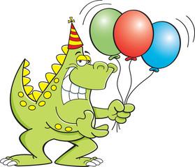 Cartoon illustration of a dinosaur holding balloons.