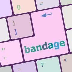 bandage word on keyboard key, notebook computer