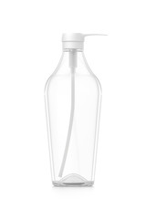 White cosmetic bottle dispenser pump with tube transparent empty container from front angle.