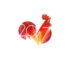New Year design with silhouette of red fire rooster. Shiny cock