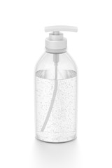 White cosmetic bottle dispenser pump with tube transparent bubble liquid filled container from front top angle.
