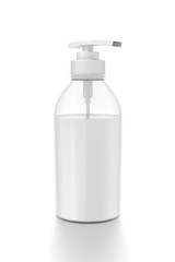 White cosmetic bottle dispenser pump with tube transparent white liquid filled container from side angle.