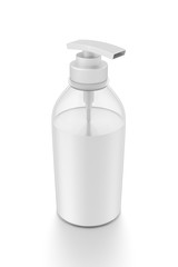 White cosmetic bottle dispenser pump with tube transparent white liquid filled container from top angle.