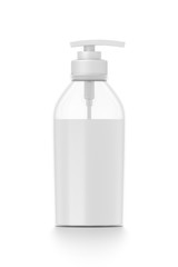 White cosmetic bottle dispenser pump with tube transparent white liquid filled container from front angle.