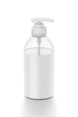 White cosmetic bottle dispenser pump with tube transparent white liquid filled container from front top angle.