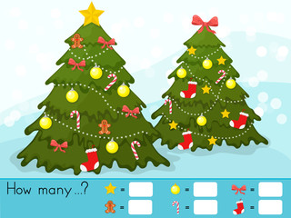 Christmas theme activity sheet - Counting game. How many objects task - Worksheet for education