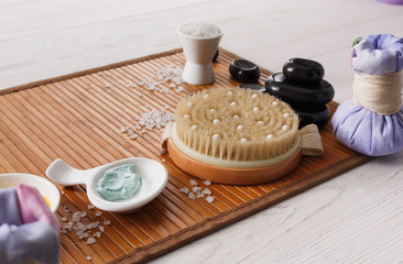 Spa treatment, massage and aromatherapy top view background.