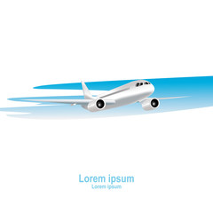 Jet airplane on a white background. Realistic vector illustration.