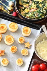 Cooking scene for mini quiche