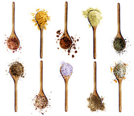 Printed kitchen splashbacks Spices Collection of Spices in Wooden Spoons