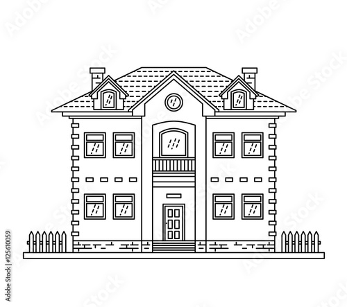 House Cottage Line Drawing Icon Stock Image And Royalty Free
