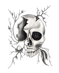 Art skull surreal.Hand pencil drawing on paper.