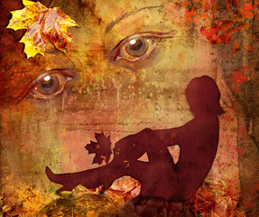 Silhouette of the woman on a bright autumn background