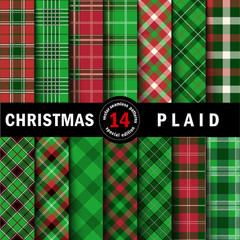 Set Christmas Tartan Seamless Patterns