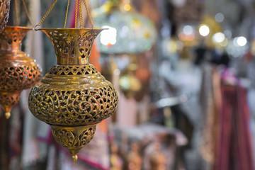 Traditional iranian market (Bazaar) metal souvenires, lamps.