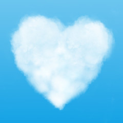 text and heart cloud in the blue sky