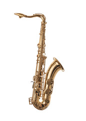 Golden Saxophone isolated on white.