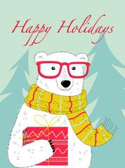 Happy holidays card with a nice polar bear