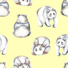 Seamless pattern with watercolor pandas, hand drawn isolated on a yellow background