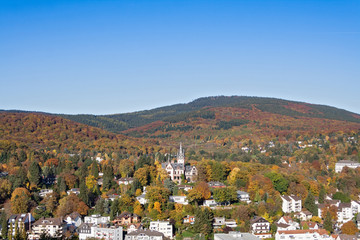 View from the castle ruin Koenigstein to the autumnal taunus Hesse Germany