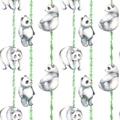 Seamless pattern with watercolor bamboo and pandas, hand drawn isolated on a white background