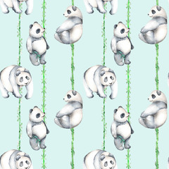 Seamless pattern with watercolor bamboo and pandas, hand drawn isolated on a blue background