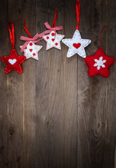 Wooden background with hand made stars