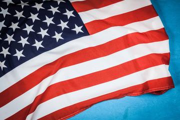 USA flag on blue background