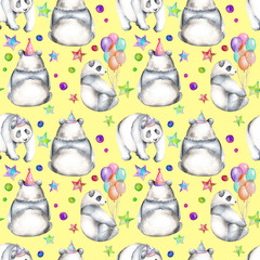 Seamless pattern with watercolor festive pandas, hand drawn isolated on a yellow background