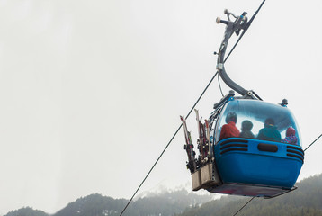 Cable cars on the ski resort.