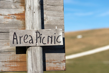 Picnic Area - Wooden Sign